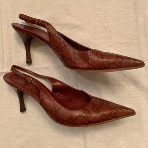 Gucci Vintage Double G Leather Sling Back Heels